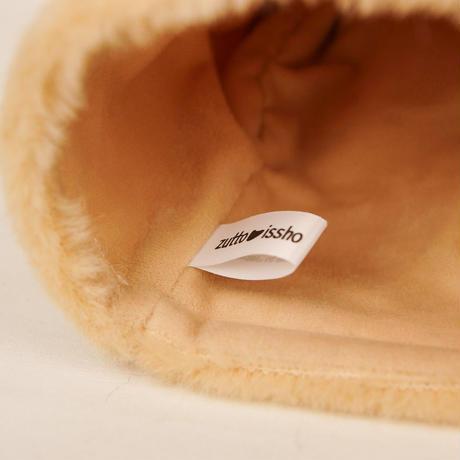 ペット用骨壺カバー / サイズ:4寸 / ベース:クリーム / ボンボン:クリーム・ブラウン / しっぽ:ブラウン(S173)