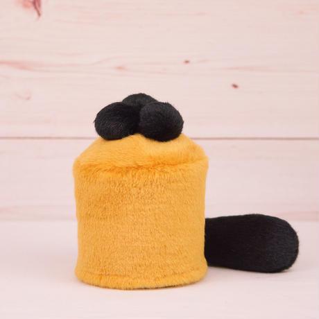 ペット用骨壺カバー / サイズ:3寸 / ベース:ブラウン / ボンボン:黒・黒・黒 / しっぽ:黒(S039)