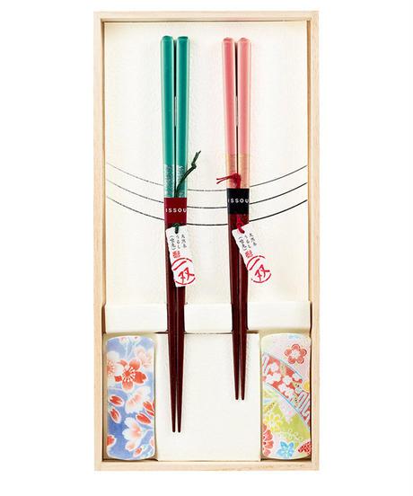 『ギフトセット』箸置付夫婦箸 【ほのか】