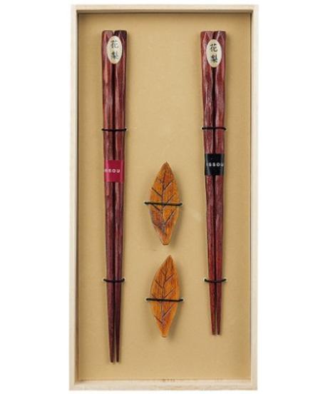 『一双』花梨&箸置ゆずりは 桐箱2膳入