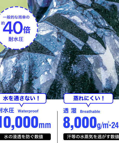 43DEGREES レインポンチョ - Tie dye Blue