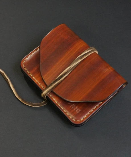 wood brown mini wallet 鹿紐