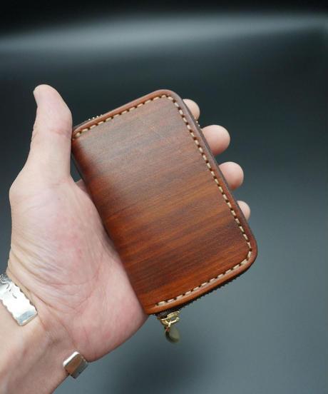 ラウンドジップ ミニウォレット wood brown