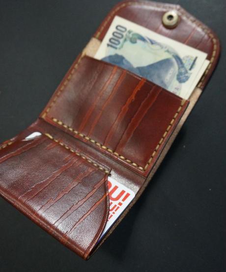 スリムコンパクトウォレット real wood leather