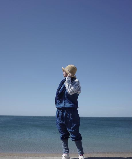 ノラふくサロペット 淡藍染