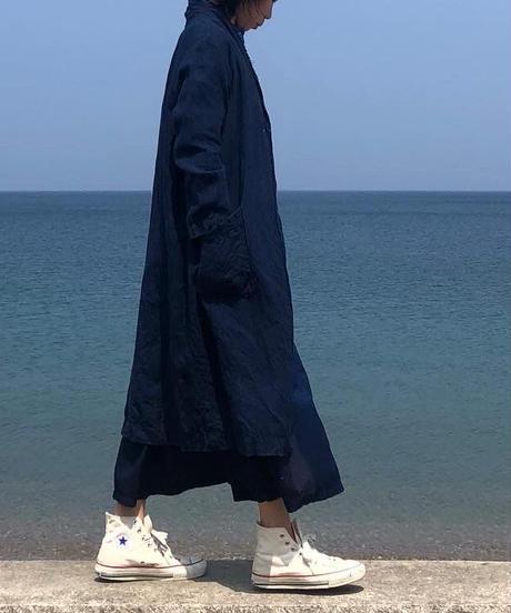 リネンコート 濃藍染 38号