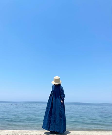 リネン2wayワンピース 淡藍染