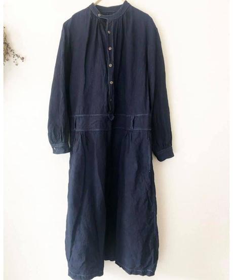ノラふくリネンワンピース・濃藍染 40号