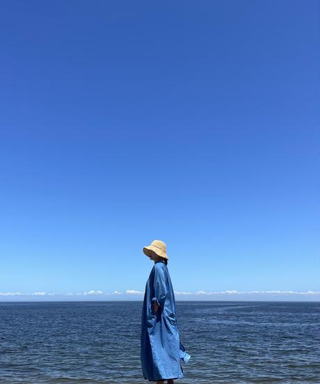 コットン2wayワンピース 淡藍染