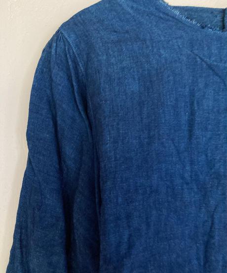 ノラふくスモックブラウス 淡藍染
