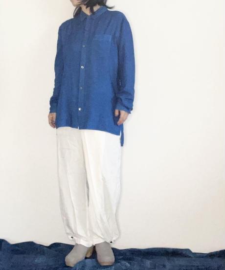 正藍染レーヨンシルクシャツ