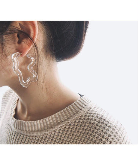 Square Shape Hoop Earrings(Clear)
