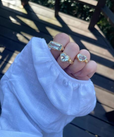 Hima x ジェムパレス 💙ハートアクアマリン ダイヤモンドリング