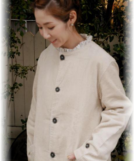 ◇ ichi ◇ 太コーデュロイ ノーカラーコート