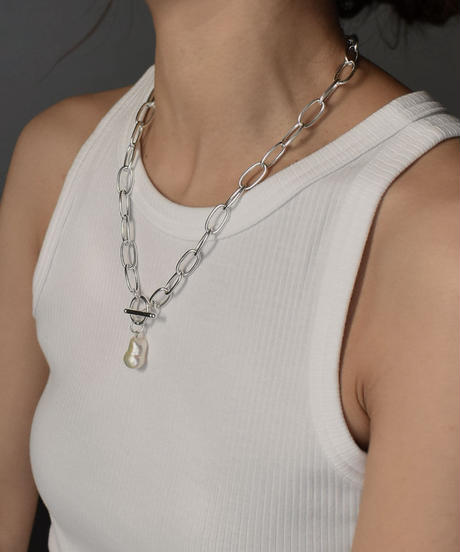 necklace-a02067  SV925coating Baroque  Pearl  Chain  Necklace