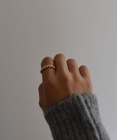 ring-a02084   SV925 Gold   Ball Chain Ring 3mm