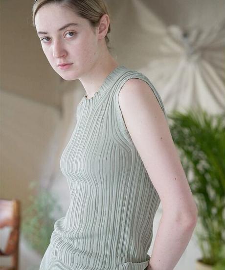 unfil アンフィル / high twist cotton ribbed-knit sleeveless top / WOSP-UW132