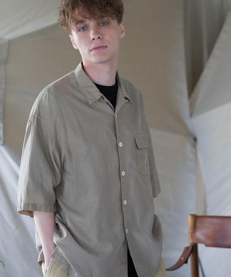 unfil アンフィル / cotton&silk-twill open collar short sleeve  shirt / WOSP-UM225