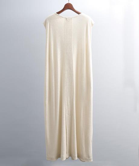 unfil アンフィル / raw silk ribbed-jersey sleeveless dress  / WOSP-UW113
