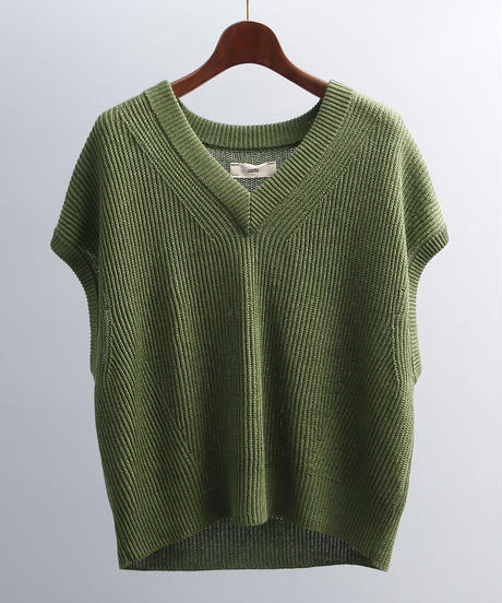 unfil アンフィル / french linen ribbed-knit sleeveless top / WOSP-UW139