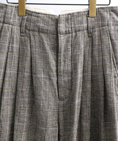 unfil アンフィル / glen checked-tweed 4 tuck shorts / WOSP-UW109