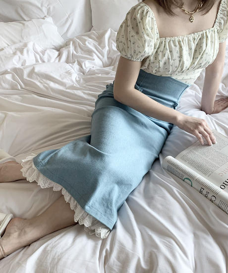 puff minimum blouse (blue flower)