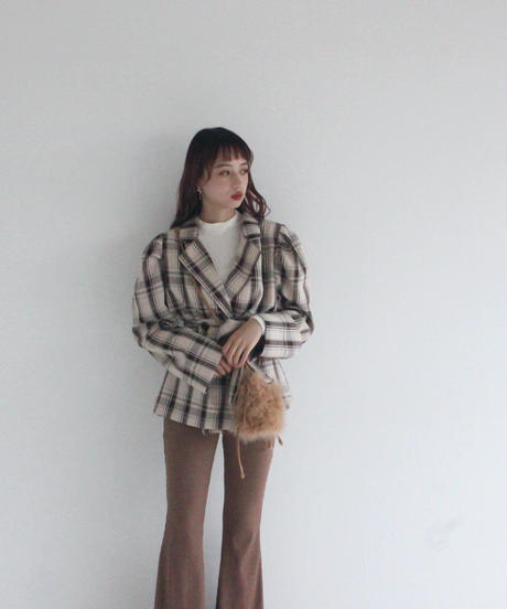 puff sleeve belted check jacket (A19-06028K)