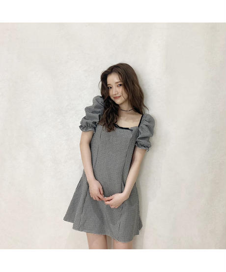 【Summer 25】front ribbon gingham check one-piece (S20-04081K)