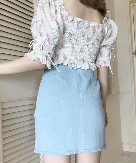 denim slit mini skirt (2colors)