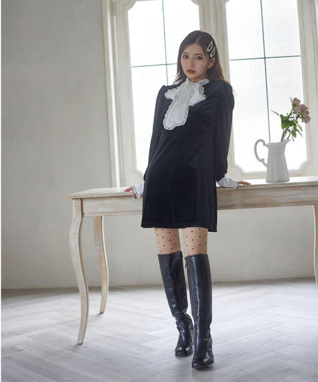 【&lottie original】frill ribbon velour mini one-piece