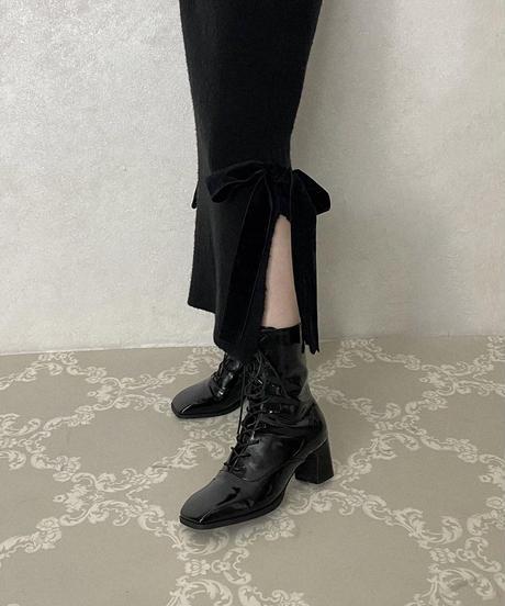 lace up enamel short boots (A20-07033K)