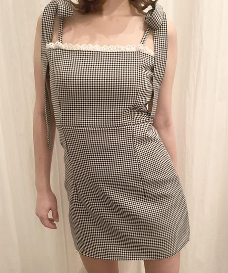 frill cami one-piece (gingham check)