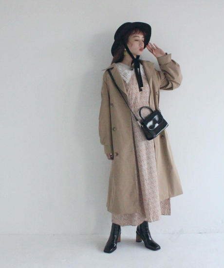 volume trench coat (A19-06029K)-BLK.SOL/F
