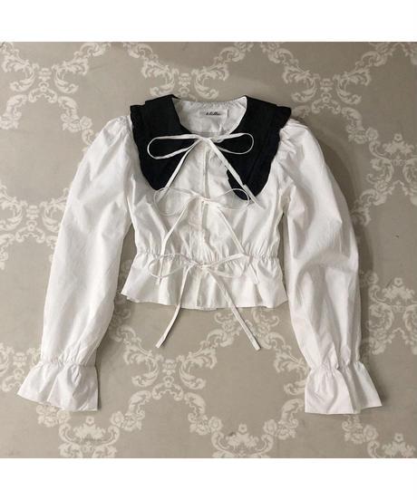 bi-color ribbon blouse (A20-01221K)
