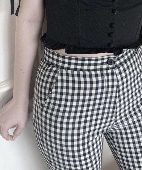 gingham check  pants