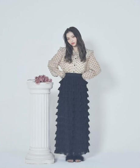 tiered long skirt (2colors)