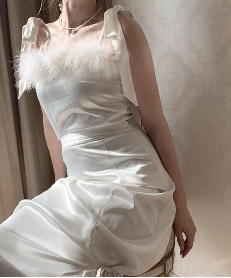 feather satin bustier -ivory-