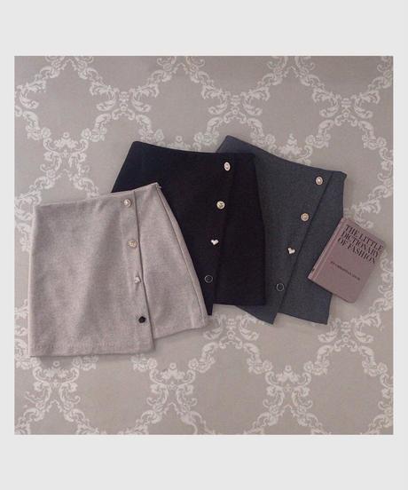 pearl design botton mini skirt  (3colors)