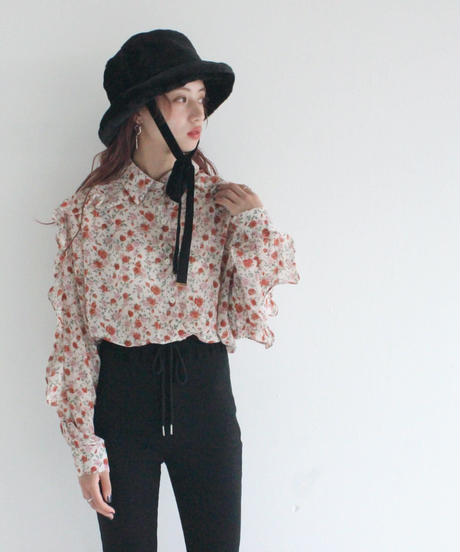 frill sleeve rose blouse (A19-01145K)