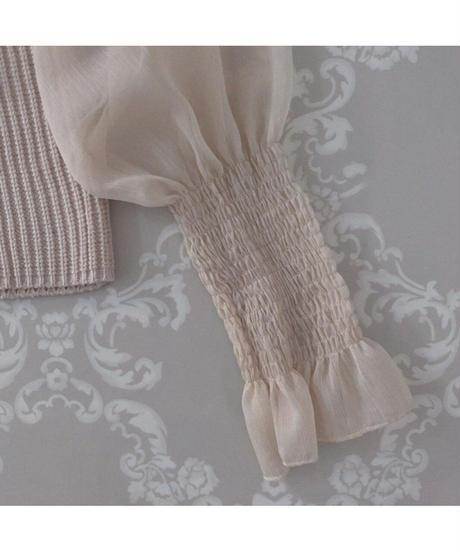 【Re stock】knit docking ribbon blouse -beige-