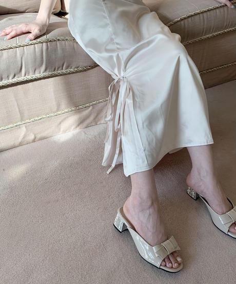 mermaid satin skirt -pink beige-