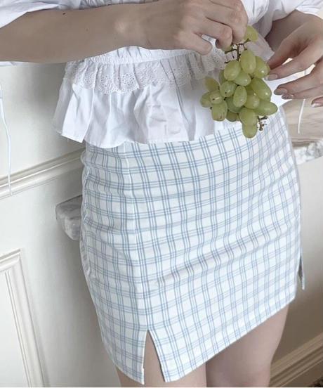check slit mini skirt
