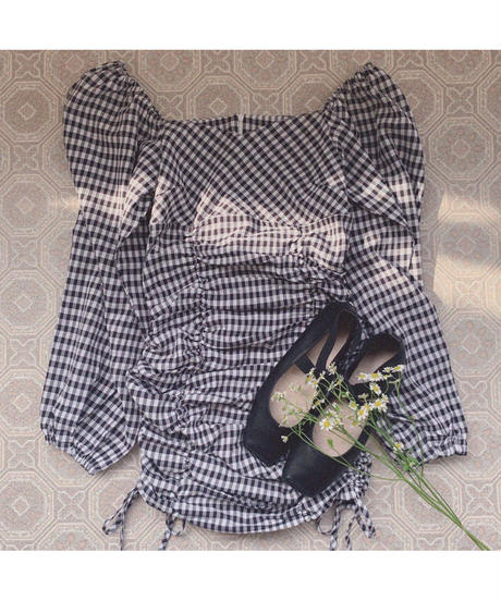 double shirring gingham one-piece
