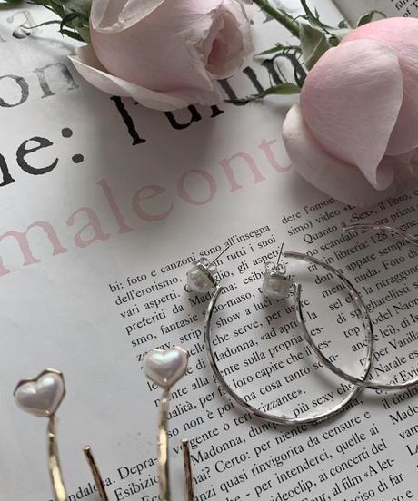 heart pearl hoop pierce (2colors)