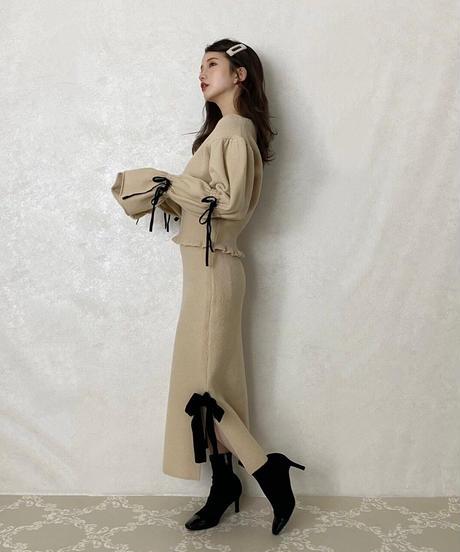 【&lottie original】side ribbon knit skirt -beige-