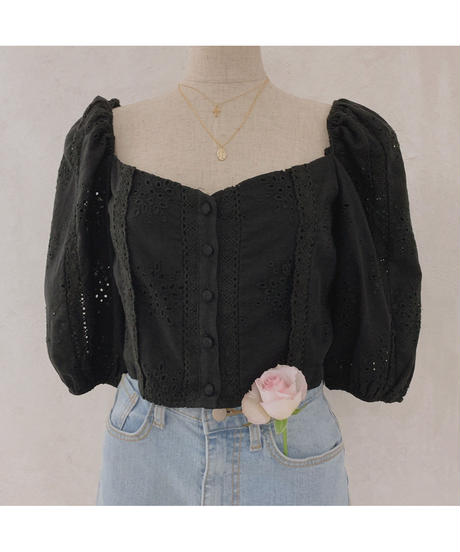 heart neck cotton lace blouse