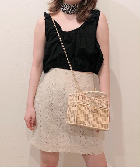 cotton lace mini skirt (S19-03043K)