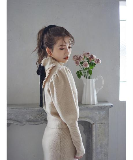 【&lottie original】back ribbon puff sleeve knit -beige-