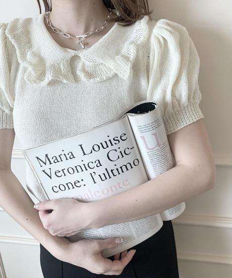 【last 1】frill collar knit tops