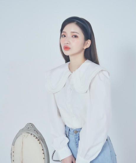 【last 1】pleats big collar blouse (2colors)